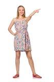 The blondie caucasian girl in summer light dress isolated on white Stock Images
