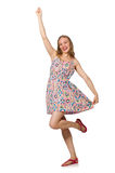 The blondie caucasian girl in summer light dress isolated on white Royalty Free Stock Photos
