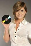 Blondie con CD Fotografía de archivo libre de regalías
