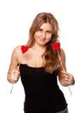 Blondie con dos tarjetas del día de San Valentín Imagen de archivo libre de regalías