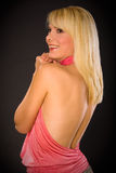 Blondie con tan indietro Fotografia Stock