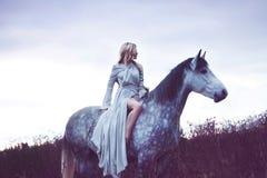 Blondie de beauté avec le cheval dans le domaine, effet image stock