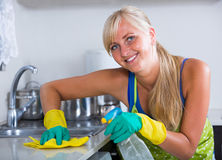 Blondie dusting in residential kitchen Stock Photography