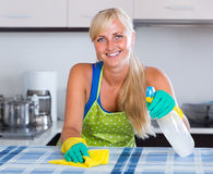 Blondie dusting in residential kitchen Stock Images