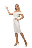 The blondie in elegant dress isolated on white Stock Image