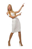 The blondie in elegant dress isolated on white Stock Photography