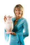 Blondie feliz com potenciômetro de flor Fotos de Stock Royalty Free