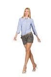 The blondie girl in gray tweed shorts isolated on white Stock Image
