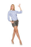 The blondie girl in gray tweed shorts isolated on white. Blondie girl in gray tweed shorts isolated on white Royalty Free Stock Photo