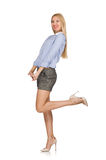 The blondie girl in gray tweed shorts isolated on white Royalty Free Stock Photo