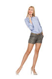 The blondie girl in gray tweed shorts isolated on white Stock Images