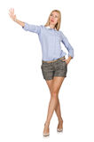 The blondie girl in gray tweed shorts isolated on white. Blondie girl in gray tweed shorts isolated on white Royalty Free Stock Photography