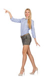 The blondie girl in gray tweed shorts isolated on white Stock Photos