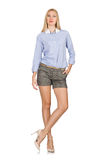 The blondie girl in gray tweed shorts isolated on white. Blondie girl in gray tweed shorts isolated on white Stock Images