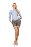 The blondie girl in gray tweed shorts isolated on white Royalty Free Stock Photography