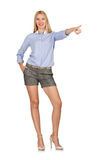The blondie girl in gray tweed shorts isolated on white. Blondie girl in gray tweed shorts isolated on white Royalty Free Stock Images