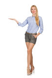 The blondie girl in gray tweed shorts. Blondie girl in gray tweed shorts isolated on white Stock Photos