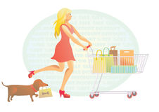 Blondie girl and her dog shopping Stock Photography