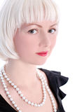 Blondie girl with pearl Royalty Free Stock Photos