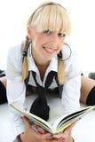 Blondie girl reading book Stock Photo