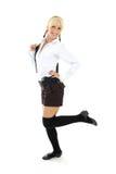 Blondie girl in school form Stock Images