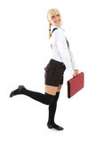 Blondie girl in school form Royalty Free Stock Photography