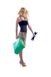 Blondie Girl and Shopping Bags. Royalty Free Stock Photography
