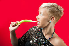 Blondie with green pepper Stock Photo