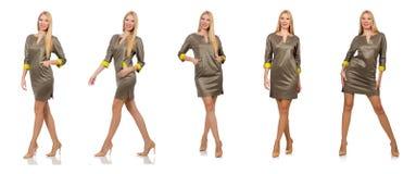 09339b4e239df1 Blondie in grijze die satijnkleding op wit wordt geïsoleerd royalty-vrije  stock foto s