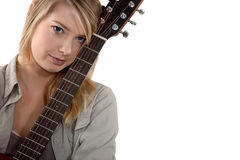 Blondie with a guitar. Stock Image