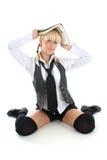 Blondie Mädchen mit Buch Stockfotos
