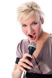 Blondie with mic. Singer blondie girl with mic isolated on white Stock Image