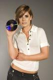 Blondie mit CD Stockfoto