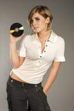 Blondie mit CD Lizenzfreies Stockfoto