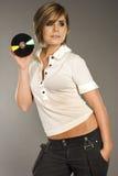 Blondie mit CD Lizenzfreie Stockbilder