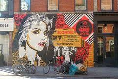 Blondie Mural. A Blondie mural in downtown Manhattan. Blondie is an American rock band founded by singer Debbie Harry and guitarist Chris Stein Stock Image