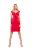 Blondie in red dress isolated on white Royalty Free Stock Images