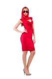 Blondie in red dress isolated on white Royalty Free Stock Photography