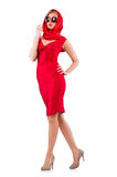 Blondie in red dress isolated on white Royalty Free Stock Photos