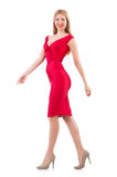 Blondie in red dress isolated on white Stock Photos
