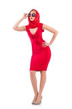 Blondie in red dress isolated on white Royalty Free Stock Image