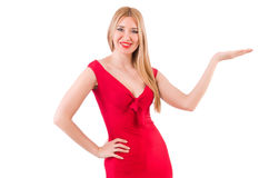 Blondie in red dress isolated on white Stock Photography