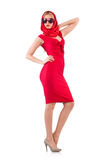 Blondie in red dress isolated on white Royalty Free Stock Photo