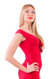 Blondie in red dress isolated on white Stock Image