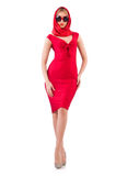 Blondie in red dress isolated on white Stock Photo