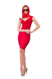 The blondie in red dress isolated on white Royalty Free Stock Images