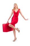 Blondie in red dress with suitcase isolated on Royalty Free Stock Photo