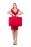 Blondie in red dress with suitcase isolated on Royalty Free Stock Photos