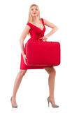 Blondie in red dress with suitcase isolated on Stock Photo