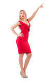 Blondie in red dress on white. The blondie in red dress isolated on white Royalty Free Stock Images